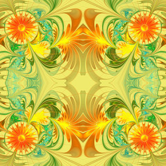 Flower pattern. Orange and green palette. Fractal design. Comput