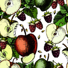 Bright pattern with juicy raspberries and apples. Vector.