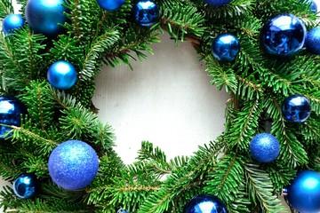 Blue ornament ball Christmas wreath