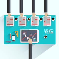 Flat design concepts for business meeting and brainstorming