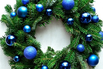 Blue ornament ball Christmas wreath