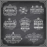 Vector Christmas Chalboard Labels poster