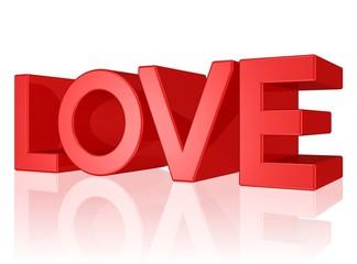 Love - Text in knallroten Buchstaben