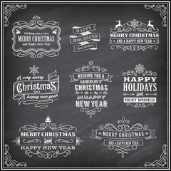 Vector Christmas Chalboard Labels