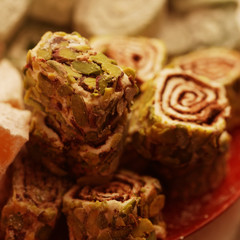 Turkish delight with pistachio nuts