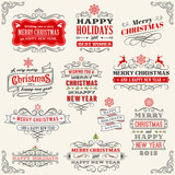 Vintage Vector Christmas labels poster