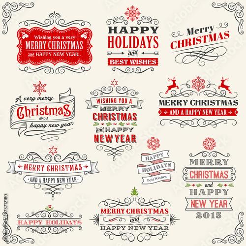 Zdjęcia na płótnie, fototapety, obrazy : Vintage Vector Christmas labels