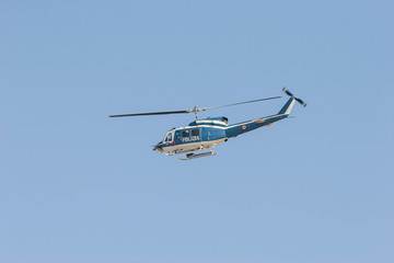 blue and white police helicopter, italy, polizia
