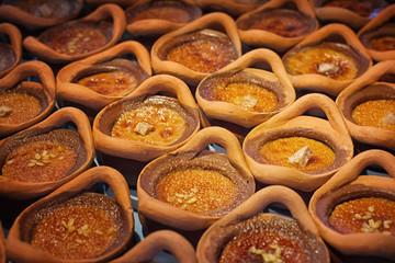 Thai dessert in clay pots,Mung Bean Thai Custard Dessert