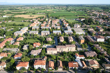 Village,/town seen from above. Helicopter view