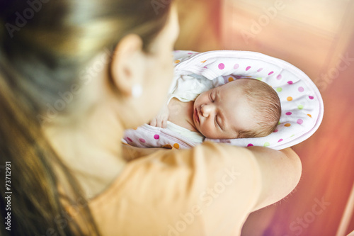 canvas print picture Mother with baby at home