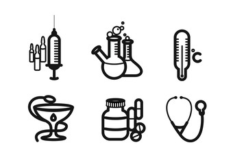 Icon set in black for medicine and pharmacy