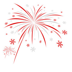 Christmas firework design on white background