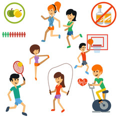 Icon set for active lifestyle, sport, nutrition
