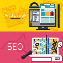 SEO optimization and web design banners