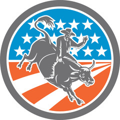 Rodeo Cowboy Bull Riding Flag Circle Retro