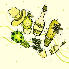 Illustrations with cactus and bottles