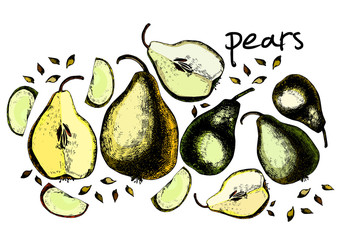 Set of drawing pears