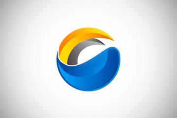 3D abstract media technology design logo