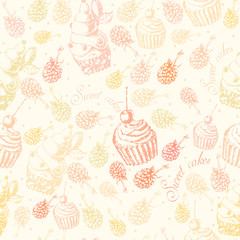 Cute seamless pattern sweet Cake