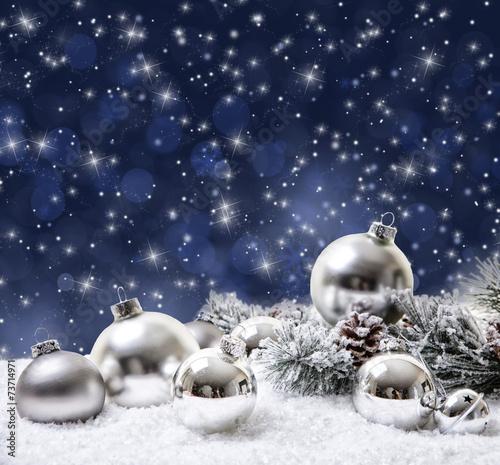 canvas print picture Winterkugeln weiß und blau silber