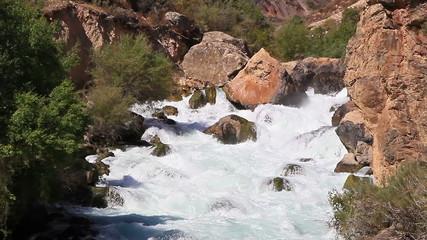 River in the mountains. Tajikistan. Iskanderdarya