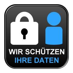 Schwarzer Button: Wir schützen ihre Daten