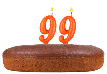 birthday cake candles number 99 isolated