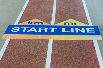 Blue and Yellow Start Line