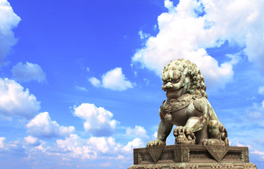 Lion statue in Forbidden City, Beijing, China