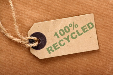 One Hundred Percent Recycled paper luggage tag