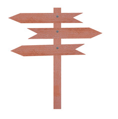 Arrow brown wooden signboard.