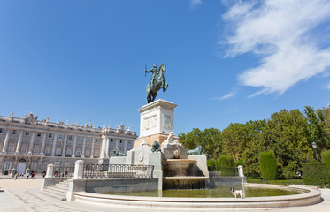Fountain on square near Royal palace in Madrid, Spain