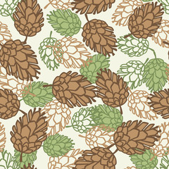 Winter seamless pattern with stylized pine cones.