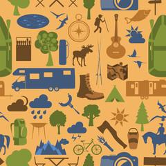 Camping outdoors hiking seamless. Pattern.