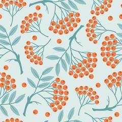 Winter seamless pattern with stylized rowan berries.