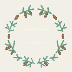 Winter background design with stylized fir branches.