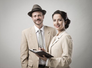 Vintage smiling business people