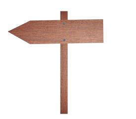 Arrow brown wooden signboard.