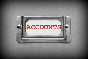 Accounts drawer label in black and white with red text