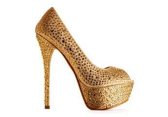 Beautiful sexy gold high heel isolated on white