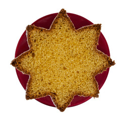 Pandoro - traditional Italian Chistmas cake, bread. Star shaped.