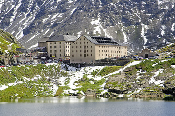 Great St Bernard Hospice, the border between Italy - Switzerland