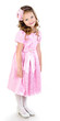 Adorable smiling little girl in pink princess dress