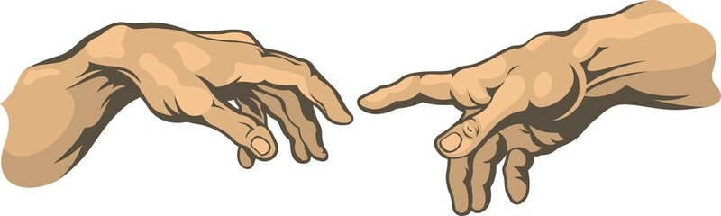 Hand to hand . Creation of Adam. Fresco painting by Michelangelo