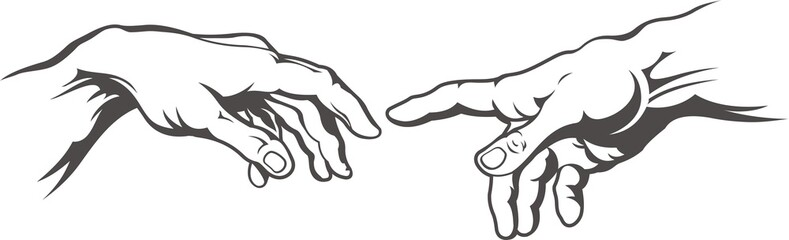 Hand to hand tattoo. Creation of Adam. Michelangelo