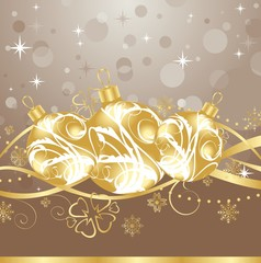background with Christmas balls and tinsel