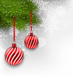 Christmas background with hanging glass balls and fir branches
