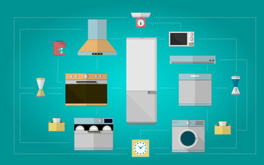 Colored flat vector icons for kitchen appliances