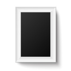 Vertical white A4 wooden frame for picture or text isolated